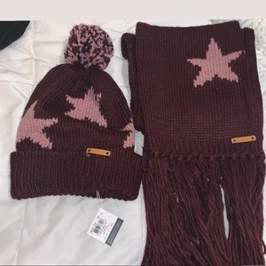 Coach hat and scarf set burgundy knitted NWT